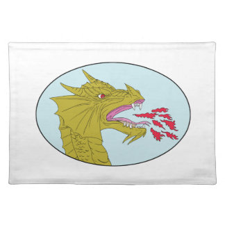 Dragon Head Breathing Fire Oval Drawing Cloth Placemat