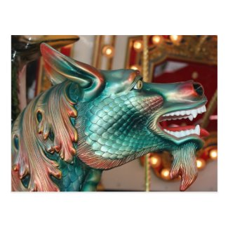 dragon head carousel ride fair image post cards