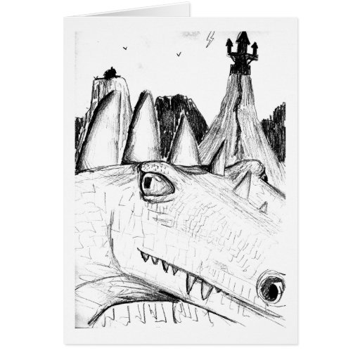 Dragon head drawing castle on hill beast greeting card