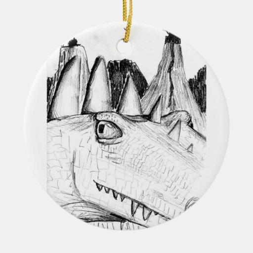 Dragon head drawing castle on hill beast christmas ornament
