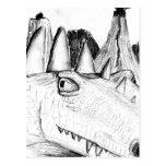 Dragon head drawing castle on hill beast postcard