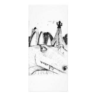 Dragon head drawing castle on hill beast customized rack card