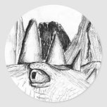 Dragon head drawing castle on hill beast stickers