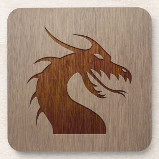 Dragon head engraved on wood effect drink coaster