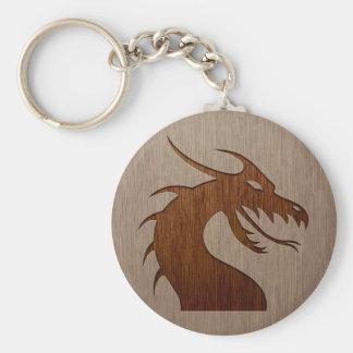 Dragon head engraved on wood effect keychain
