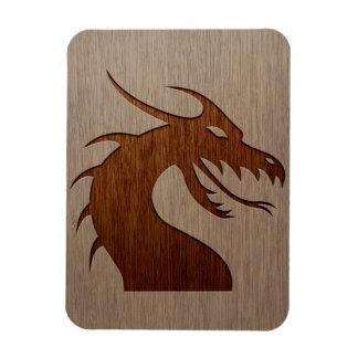 Dragon head engraved on wood effect rectangular photo magnet