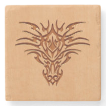 Dragon head engraved on wood effect stone coaster