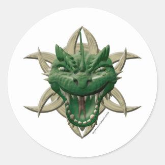 Dragon Head - Green Classic Round Sticker