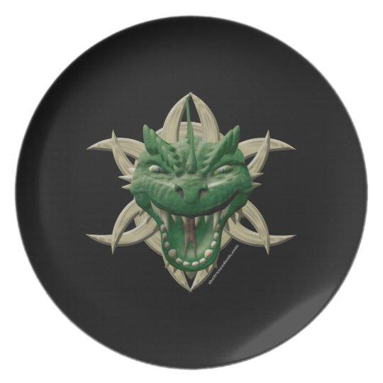 Dragon Head - Green Melamine Plate