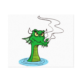 dragon head out of water horned.png stretched canvas print
