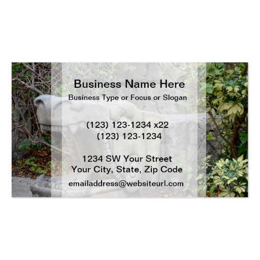 dragon head sculpture with plants business card template