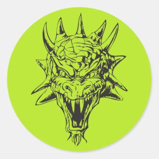 Dragon Head Round Sticker