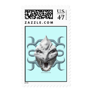 Dragon Head - White Postage Stamp