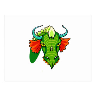 Dragon head with horns.png postcard