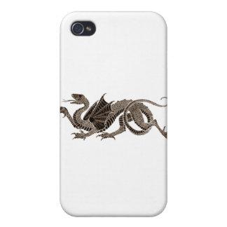 Dragón heráldico en sepia iPhone 4 cobertura