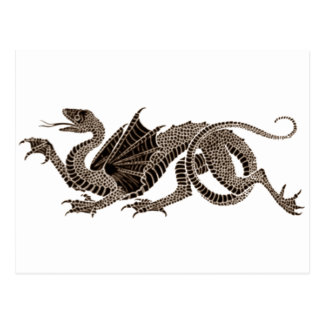 Dragón heráldico en sepia postales