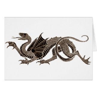 Dragón heráldico en sepia tarjeta de felicitación