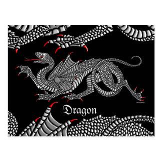 Dragón heráldico (plata) - postal