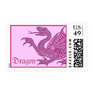 Dragón heráldico (rosa) - franqueo #1 sellos