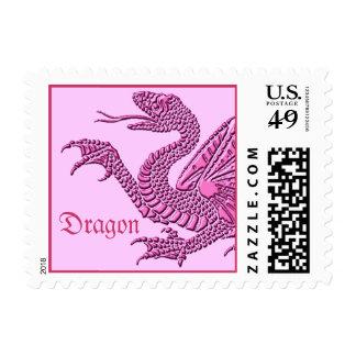 Dragón heráldico (rosa) - franqueo #2 sellos postales