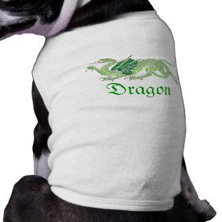 Dragón heráldico (verde) - camisa del mascota camisas de perritos