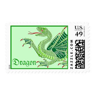 Dragón heráldico (verde) - franqueo #1 estampillas