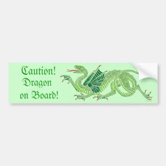 Dragón heráldico (verde) - pegatina para el parach pegatina de parachoque