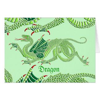 Dragón heráldico (verde) - tarjeta de felicitación