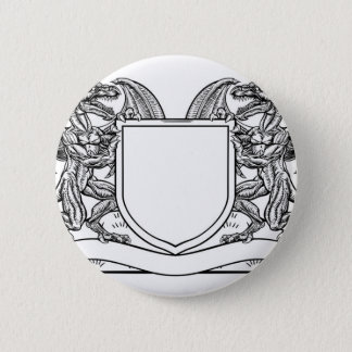 Dragon Heraldry Crest Coat of Arms Shield Emblem Pinback Button
