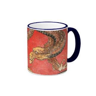 Dragon, Hokusai Japanese Fine Art Ringer Mug