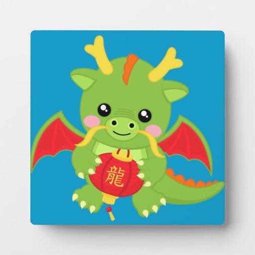 Dragon Holding Lantern Display Plaque