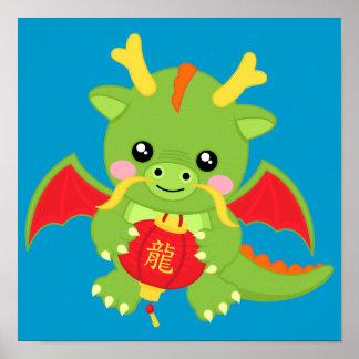 Dragon Holding Lantern Poster
