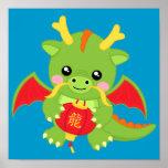 Dragon Holding Lantern Print