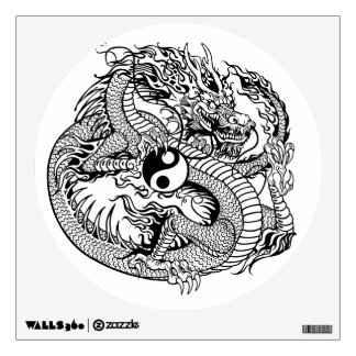 dragon holding yin yang wall sticker