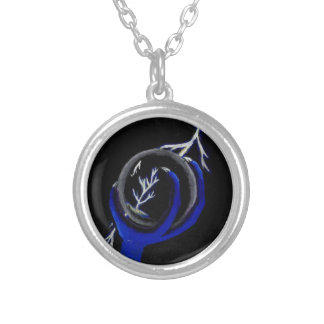 Dragon Holds Crystal Ball to see lightning Strike Silver Plated Necklace