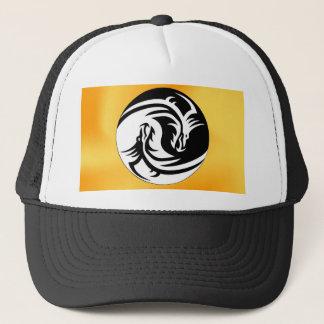 dragon hug kiss peace trucker hat