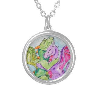 Dragon Hug Silver Plated Necklace