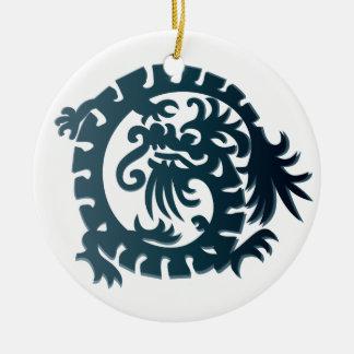 Dragon Icon - Blue White - 1 Ceramic Ornament