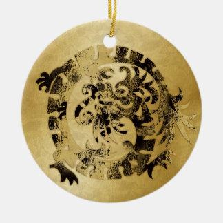 Dragon Icon - Gold Black - 1 Ceramic Ornament