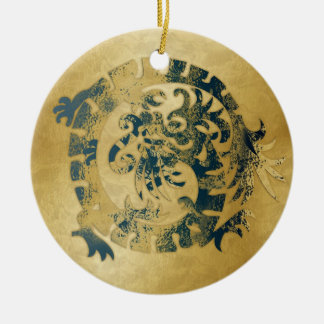 Dragon Icon - Gold Blue - 1B Ceramic Ornament