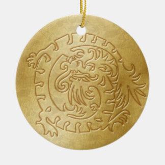 Dragon Icon - Gold on Gold - 1 Ceramic Ornament