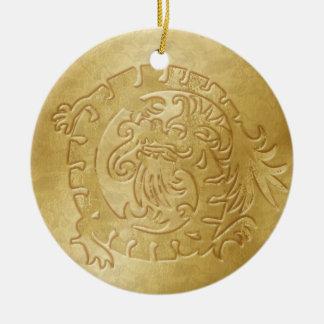 Dragon Icon - Gold on Gold - 1B Ceramic Ornament