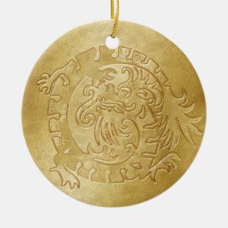 Dragon Icon - Gold on Gold - 3B Ceramic Ornament