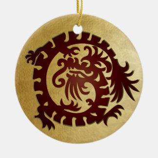 Dragon Icon - Gold Red Green - 1 Ceramic Ornament