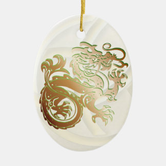 Dragon Icon - Green Copper - 1B Ceramic Ornament