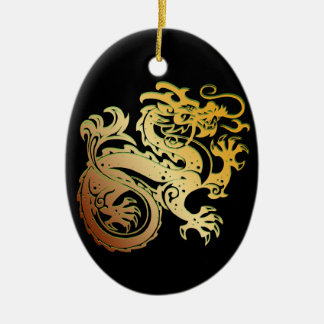Dragon Icon - Green Gold on Black - 1 Double-Sided Oval Ceramic Christmas Ornament