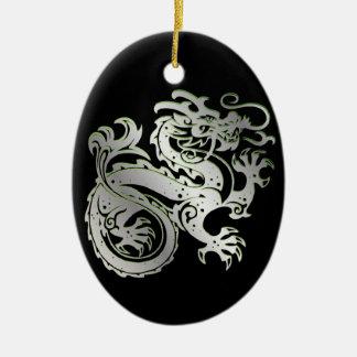 Dragon Icon - Green Silver on Black - 1 Ceramic Ornament