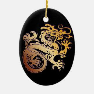 Dragon Icon - Purple Gold on BlackB - 1 Ceramic Ornament