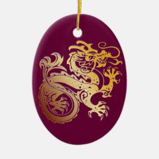 Dragon Icon - Purple Gold on Purple - 1 Ceramic Ornament