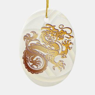 Dragon Icon - Purple Gold on White - 1B Ceramic Ornament